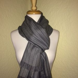 Made in Italy Luxury Cashmere Gray Pinstripe Scarf